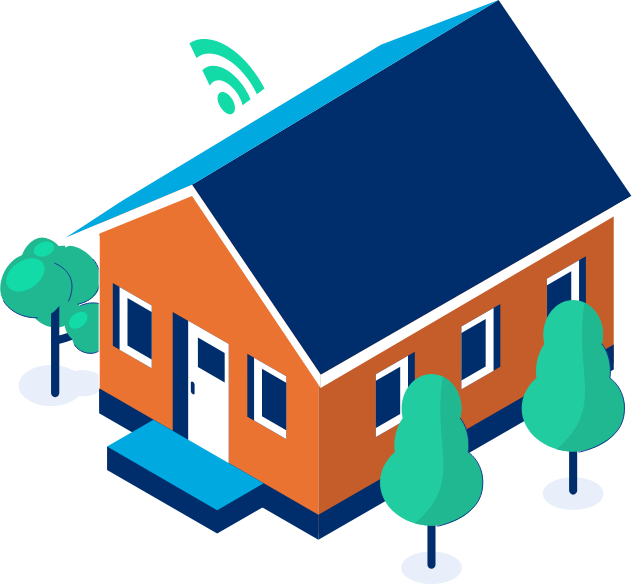 house, trees, and wifi signal